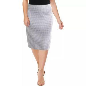 Kasper Women's Plus Size Pencil Skirt Ivory Black